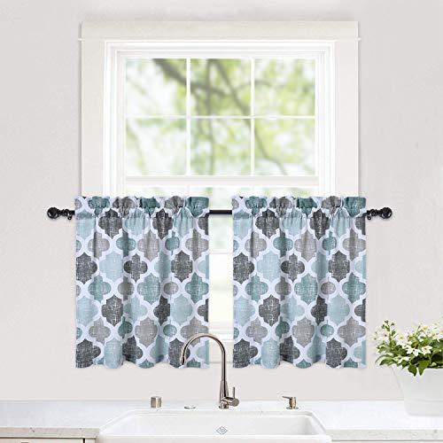 "Haperlare Tier Curtains, Geometric Pattern Short Bathroom Window Curtain, Cotton Blend Trellis Design Half Window Kitchen Cafe Curtains, 28"" x 24"", Gray/Aqua, Set of 2"