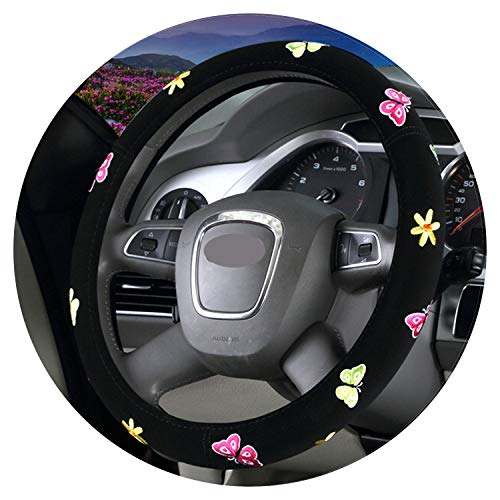 Ablaze Jin Cartoon Couvre Volant Fleur Broderie Voiture Volant Auto Intérieur Hub Accessoires pour Femme, Papillon