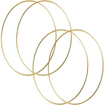 HOHIYA 19 Inch Metal Floral Hoop Wreath Large Gold Craft Macrame Ring for Christmas Wedding Wall Hanging 4mm Wire 4pcs