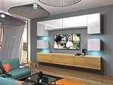 Home Direct Schrankwand Wohnwand TV Schrank Wohnschrank Möbel mit LED Beleuchtung Modernes Wohnzimmer Mediawand Nowara NX1 (AN1-17WD-HGM46 1A (242cm), LED Blau)