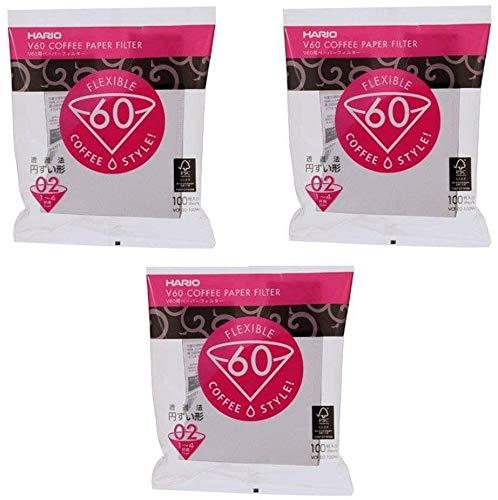 Hario V60 Größe 02 - 3 Packungen 100 Weißbuch Kaffeefilter VCF-02-100W (insgesamt 300 Papierfilter) Import Japan