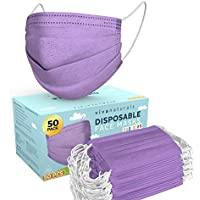 50-Pack Viva Naturals 4-Ply Disposable Purple Face Masks