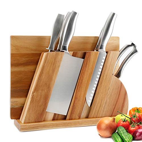 GOOD HELPER Knife Set, 8 Pieces Kitchen Knife Set with Block, Knife Block Set with Sharpener & Shears, Stainless Steel Hollow Handle Knife and Cutting Board Set