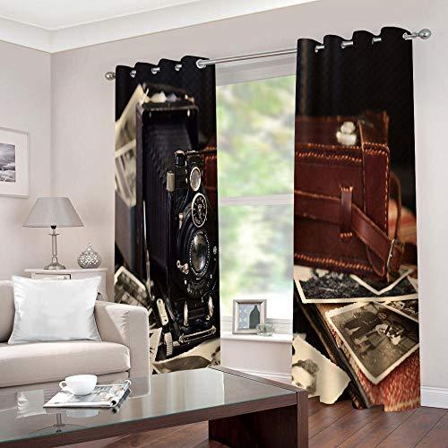 LWXBJX Cortinas Opacas de Salón Moderno Termicas - Cámara Retro - Impresión 3D Aislantes de Frío y Calor 90% Opacas Cortinas - 200 x 160 cm - Salon Cocina Habitacion Niño Moderna Decorativa