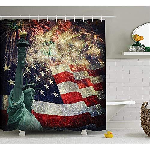 ASDAH Amerikaanse vlag douchegordijn foto van de Verenigde Staten Vlag 4 juli Thema Print doek stof badkamer Decor Set met haken Multi kleuren 66 * 72in