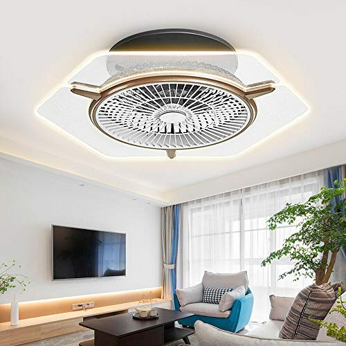 TFCFL Modern Ceiling Fan with Lights, 22 Inches Dimmable Flush Mount Cooling Fan Acrylic Chandelier 3 Gear Wind Speed with Remote Temperature Control for Bathroom Living Room Dining Room