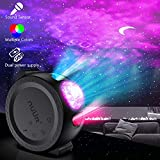 LED Light Projector, 3 in 1 Soothing Nebula Cloud Moon Star Night Light for Sleep Routines, Multi-Modes, Sound Sensor Function, USB Rechargeable Sky Lite Projector for Home, Baby Room, Game Room