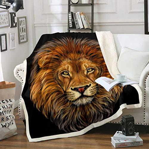 Loussiesd Lion Sherpa manta de forro polar con patrón de animales salvajes para sofá, sofá, vida silvestre, manta de peluche, resistente a las manchas, patrón de safari, doble 152,4 x 200,7 cm