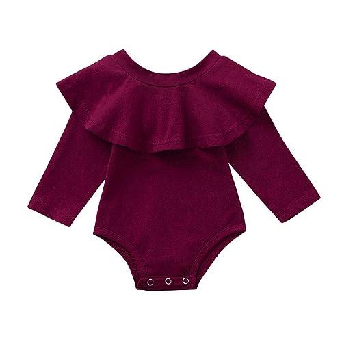 040b2e3df266 Culater 2018 ❤ ❤Infant Ragazze T-Shirt a Manica Lunga Floreale Ruffles  Pagliaccetto