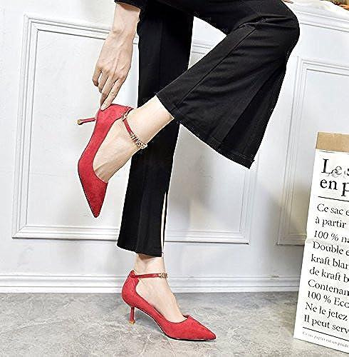 MDRW-Dame MDRW-Dame MDRW-Dame élégante Travail Loisirs Printemps L'élégant Port De Lumière Pointe Fine Suivie Seule Cravate Rouge Fendue Chaussures élégantes Chaussures High-Heeled 6Cm 9bc