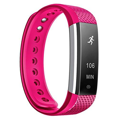 NINETEC Smartfit F3HR Pink Fitness Tracker mit Pulsmesser Sport Armband Schrittzähler Aktivitätsarmband Fitnessarmband Sportuhr mit Schlafanalyse Kalorienanalyse SMS Anrufe