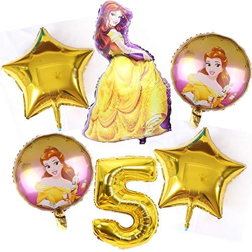XINGYAO Globos 6pcs cumpleaños Blancanieves Aurora de la Princesa cumpleaños Globos Belle Decoración 32 Pulgadas El número Globos Azules (Ballon Size : 18inch, Color : Belle Gold 5 6pcs)