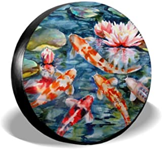 ENEVOTX Japanese Koi Fish with Loctus Flowers Jeep Spare Tire Covers Spare Tire Covers Tire Cover Waterproof Uv Sun 14 - 17 Fit for Jeep Trailer Rv SUV and Many Vehicle