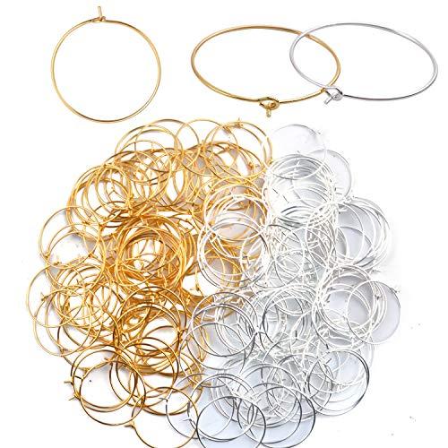 Aylifu 200 Stück Weinglas Charm Ringe Weinglas-Ring Creolen Rohlinge DIY Schmuck Zubehör für Party, Hochzeit und Festivals Dekoration - Gold und silberfarben, 25 mm