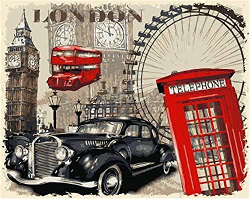 LKAZLL Retro coche teléfono cabina paisaje DIY pintura por números pinturas de pared acrílico óleo lienzo decoración del hogar 40,6 x 50,8 cm