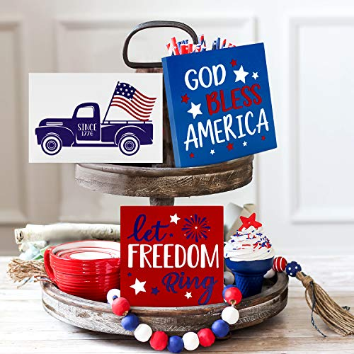 July 4th Patriotic Tiered Tray Decor Independence Day Stars and Stripes Wood Signs Tiered Tray Decor Farmhouse Rustic God Bless America Let Freedom Ring American Flag with Truck Set of 3