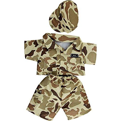 Braun Army Kostüm Soldat - 25cm - Teddybär-Klamotten - Teddybärkleidung