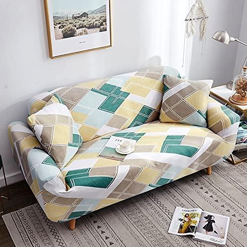 Toalla de sofá con Funda geométrica Rosa elástica Flexible, Funda de sofá Envuelta con Todo Incluido para sillón de sofá de Diferentes Formas A18, 3 plazas