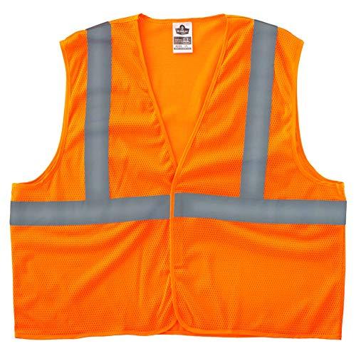 Ergodyne GloWear 8205HL Reflective Safety Vest, High Visibility Orange Mesh, Type R Class 2, Hook & Loop Closure, 4XL/ 5XL