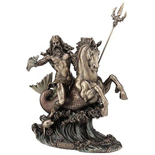 Poseidon Griechischer Gott des Meeres reitet auf Seepferd Figur bronziert Skulptur