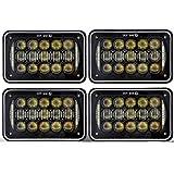 COWONE 60W Cree 4X6 inch Rectangular LED Headlights for H4651 H4652 H4656 H4666 H6545 Freightliner Kenworth Peterbilt International Volvo Sterling Western Star Mack(4Pcs)
