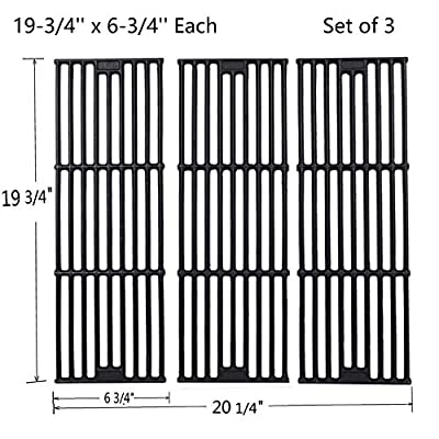 GasSaf 19 3/4 inch Grill Grid Grates Replacement for Chargriller 5050, 3001, 3008, 3030, 4000, 2121, King Griller 3008 5252, Cast Iron Grill Cooking Grid Grates(19-3/4'' x 6-3/4'' Each)(Set of 3)