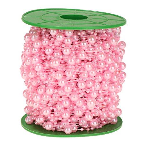 P Prettyia 60m Party DIY Schnur Perlen Kette Perlengirlande Für Hochzeit Taufe Weihnachten DIY Handwerk Braut Haarschmuck Brautstrauß 8mm + 3mm - Rosa