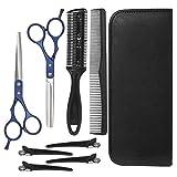 SH-RuiDu 8 piezas profesional de peluquería tijeras set de corte de pelo tijeras de adelgazamiento tijeras peine horquillas