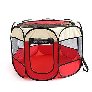 Tineer Portable Pet Cat Cage pour Chien Niche Chenil Tente Lit Parc d'enfant Camping de Plein air Pliable Maison de Caisse de Chien de Voyage Playpen (S:72×72×45cm, Beige Rouge)