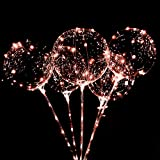 Warm White LED Light Up Bobo Balloons With Stick 10 Pack,3 Modes Flashing Transparent 20 inch Light Balloons,for Weddings,Outdoor and Indoor Parties, Anniversary, House Party, Family Reunion, Birthday Party