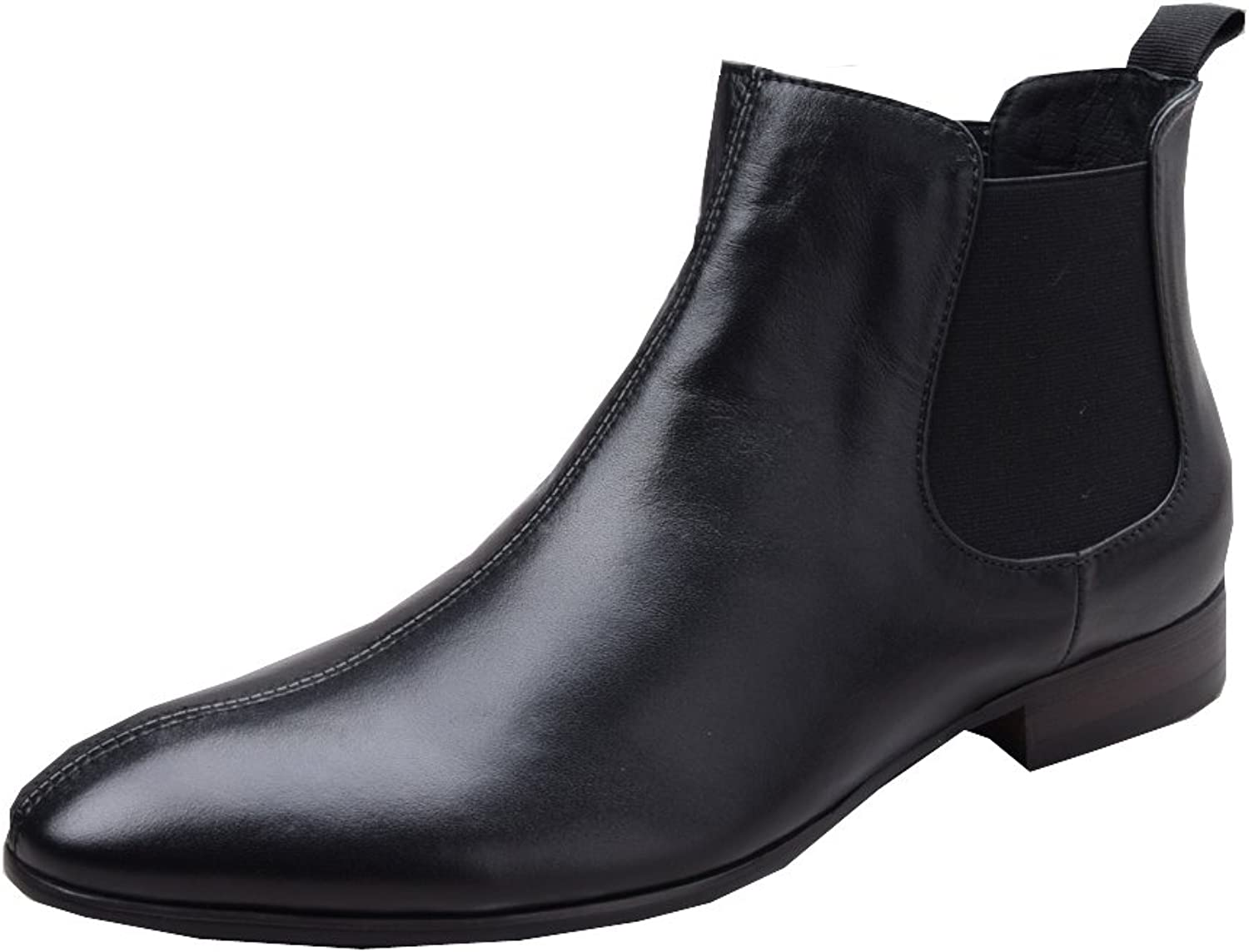 UNbox Mens Black Leather Chelsea with Sole Wide Boots
