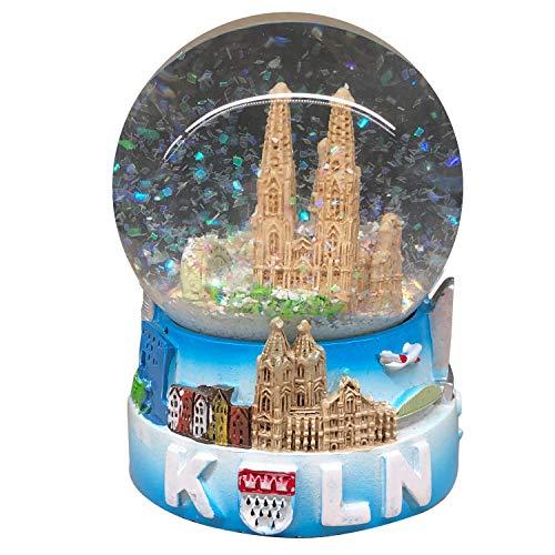 I LOVE KÖLN Schneekugel Köln - Germany 9 cm groß mit Sockel | Handbemaltes typisches und klassisches Souvenir aus Köln