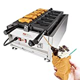 Taiyaki Fish Waffle Maker 110V | Commercial Use Jam or Ice Cream Waffle Maker | Stainless Steel Taiyaki Maker (Open mouth x 5)