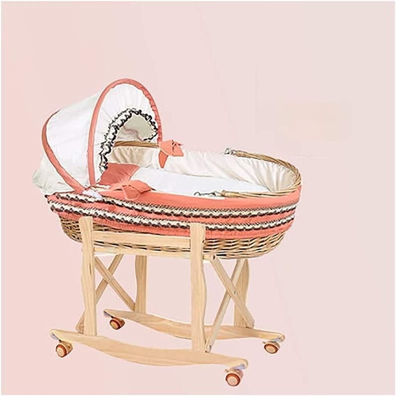 HLR Crib Travel Crib Travel Portable Bamboo Fiber Material Can Be Car Folding Bracket Dual Use Cradle Size H