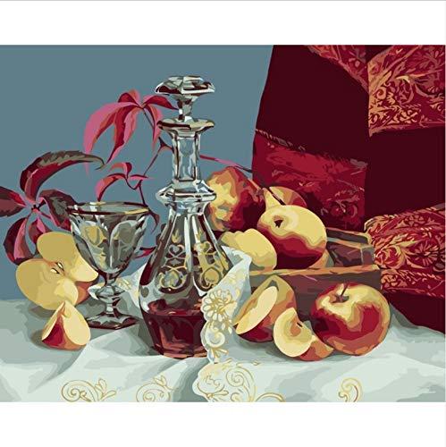 CYKEJISD Puzzle 1000 Teile 3D Puzzle Äpfel Weinglas Stillleben DIY Kunstwerk Bild Für Wohnzimmer Geschenk 75X50Cm