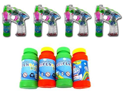 Brigamo 4 x Seifenblasenpistole mit Seifenblasen Nachfüllflasche,...