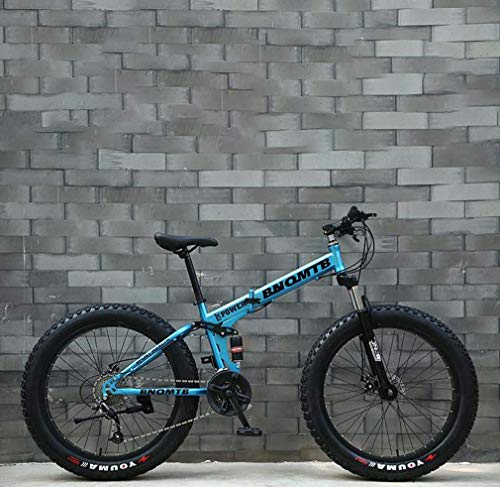 AISHFP Fat Tire Erwachsene Mountain Bike, Doppelscheibenbremse/Cruiser Bikes, Strand Snowmobile Fahrrad, 24-Zoll-Aluminium-Legierung Räder, einen Mann eine Frau General Purpose,Blau,24 Speed