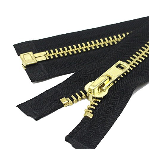 YaHoGa 60 cm #10 große Reißverschluss Metall Reißverschluß teilbar reissverschluss für mantel, jacke (Messing)