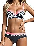 Tuopuda Bikini Push Up Mujer Bikinis con Relleno Trajes de Baño Bikini Sets Tops y Braguitas (ES 34-36, Rosado)