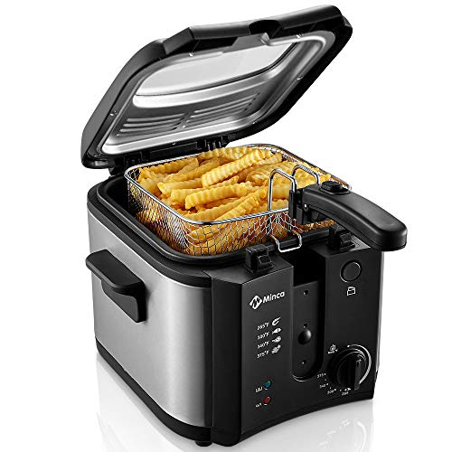 Electric Deep Fryer, M Minca 1500W Oil Fryer with 2.4 Liter Oil Capacity, Removable Cool Touch Basket, Adjustable Temperature Control
