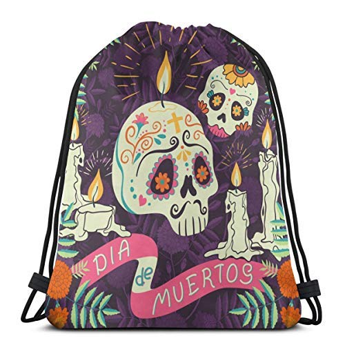 XCNGG Kordeltasche Kordeltasche Tragbare Tasche Sporttasche Einkaufstasche Einkaufstasche Bundle Backpack Outdoor Shopping Knapsack Mexican Holiday Day of The Dead Reads Dia DE Muertos Rope-Pulling Ba