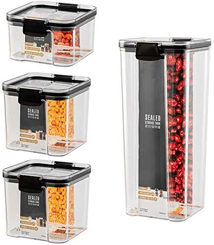 Contenedores de cocina y despensa de 4 piezas, conjunto de contenedores de almacenamiento de alimentos, contenedores de almacenamiento de alimentos secos establecidos para harina, cereal, espaguetis