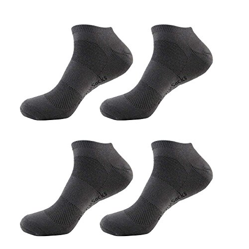 Men's Extra Large Rayon from Bamboo Fiber Sports Superior Wicking Athletic Ankle Socks - Charcoal - 4prs, Size 10-14