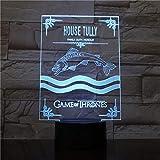 vhidfsjgdsfik 3D Led Tully House Canción de Hielo y Fuego 7 Colores Morden Lámpara de Mesa Tarea Decoración navideña Película Fan Regalo