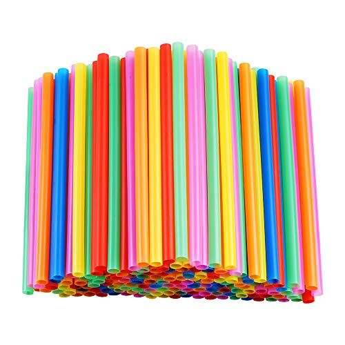 200 Pcs Jumbo Smoothie Straws,Colorful Disposable Wide-mouthed Large Straw.