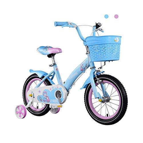 Brilliant firm Vélos Enfants Fille Pédale 2-8 Ans Enfant Princesse Poussette 80-140cm de Hauteur Peut être utilisé (Color : Blue, Size : 14 inches)