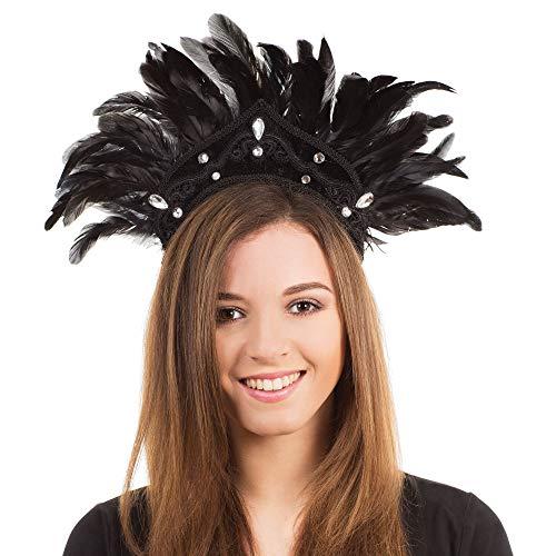 Bristol Novelty - Tocado de plumas para carnaval (Tamao nico) (Negro)