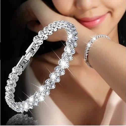 Simsly Kristallarmband Silber Handkette mit Strasssteinen Zubehör für Frauen und Mädchen