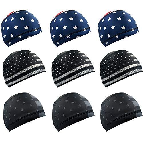 Alpurple Sweat Wicking Helmet Liner, Cooling Cap, Running Hat, Cycling Cap Skull Cap, Helmet Hard Hat Liner for Men and Women (9PCS)