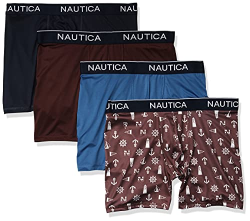 Nautica Men's 4 Pack Micro Boxer Brief, Peacoat/Royal Burgundy/Monaco Blue/Light House Royal, Large